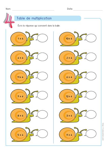 Fiche Table de multiplication de 4