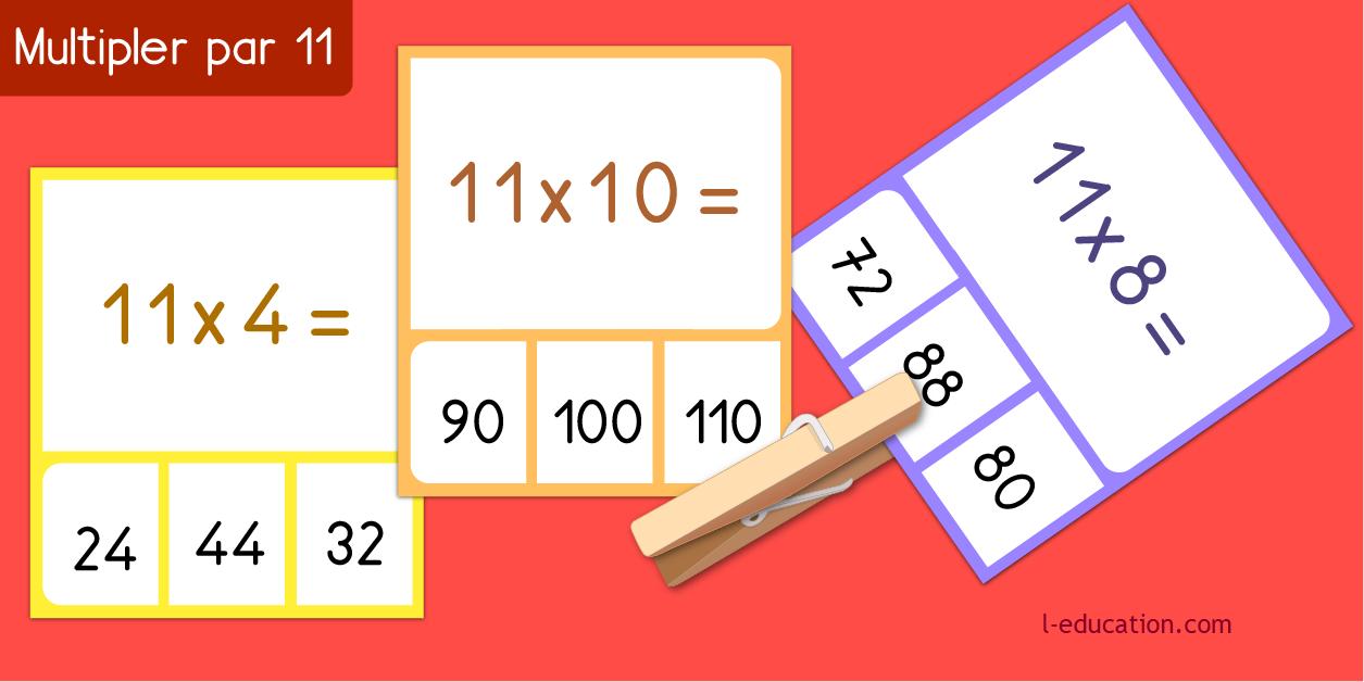 cartes memory - Table de multiplication de 11