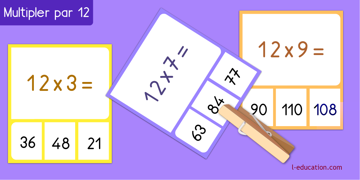 cartes memory - Table de multiplication de 12