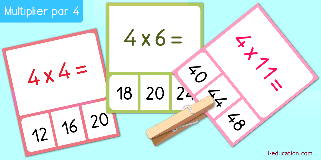 cartes memory - Table de multiplication de 4