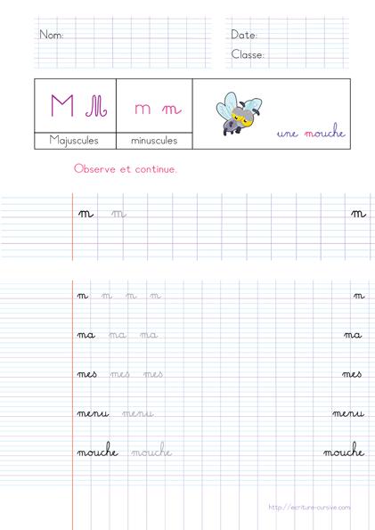 PDF Exercice d'écriture - mot en m