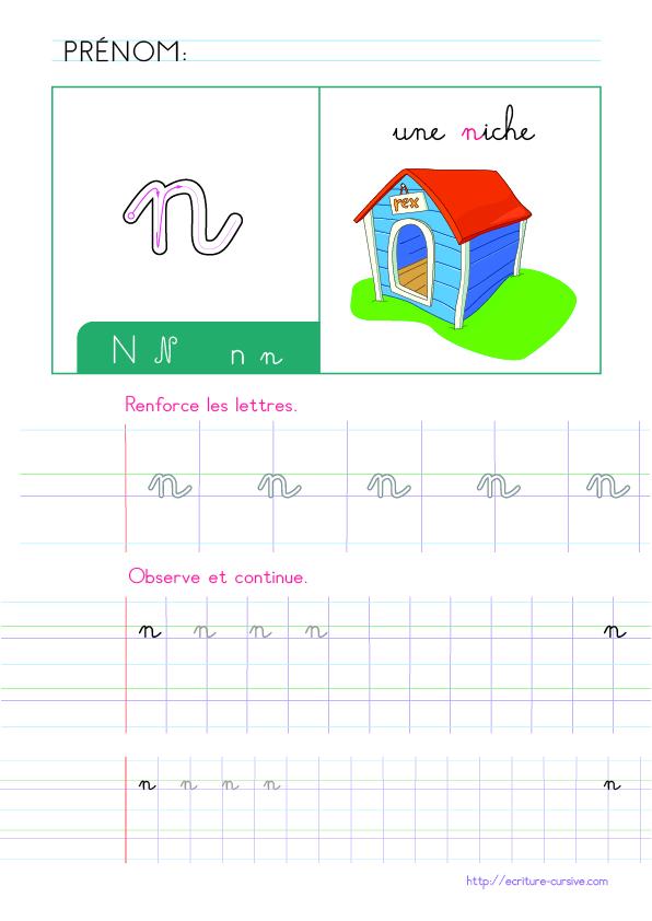 PDF Apprendre l'aphabet Maternelle CP - écrire la lettre n