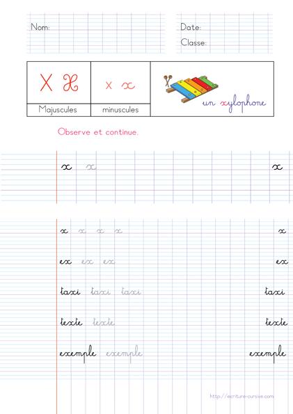 Copie CP Écrire les Mots utiles - mot en x