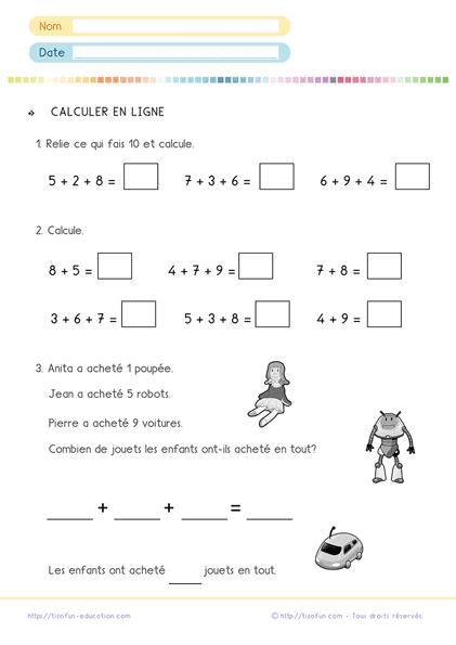 Calculs Maths CP CE1 - addition en ligne - problème addition