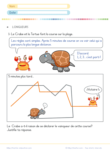 calcul longueur CP CE1 - exercice math cp