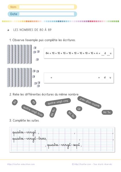 Exercices de Math CP CE1 - Les nombres CP CE1