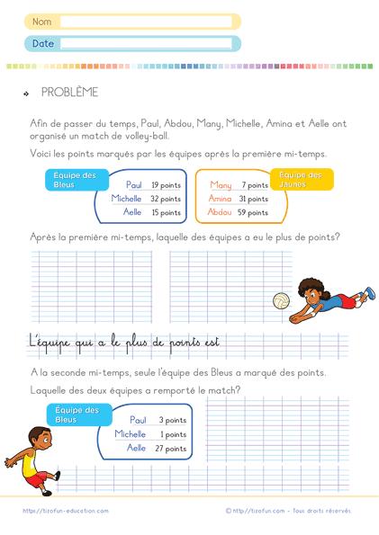fiche problèmes CP CE1 PDF à imprimer - Additions Soustractions Problèmes CP CE1
