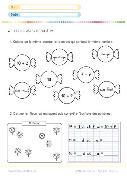 Numération CP CE1 - les nombres de 10-19