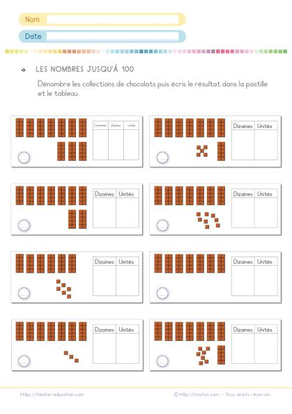 Exercice math cp - les nombres