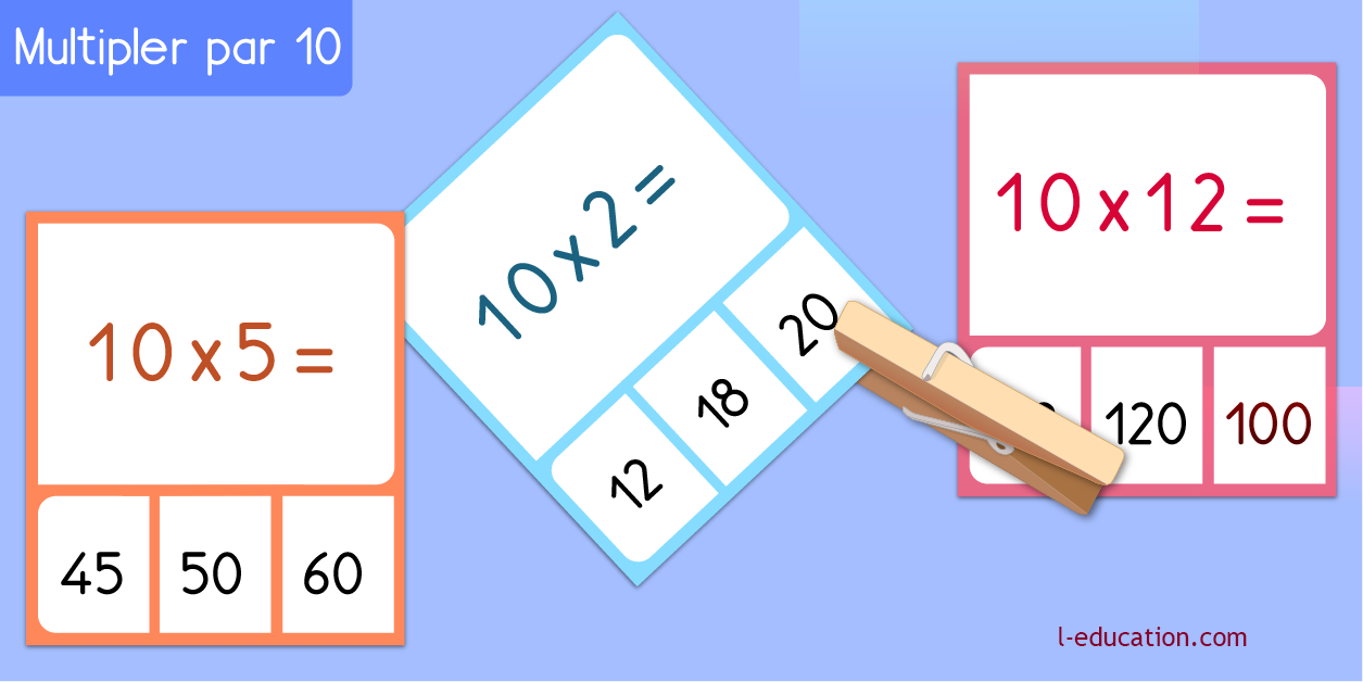 cartes memory - Table de multiplication de 10