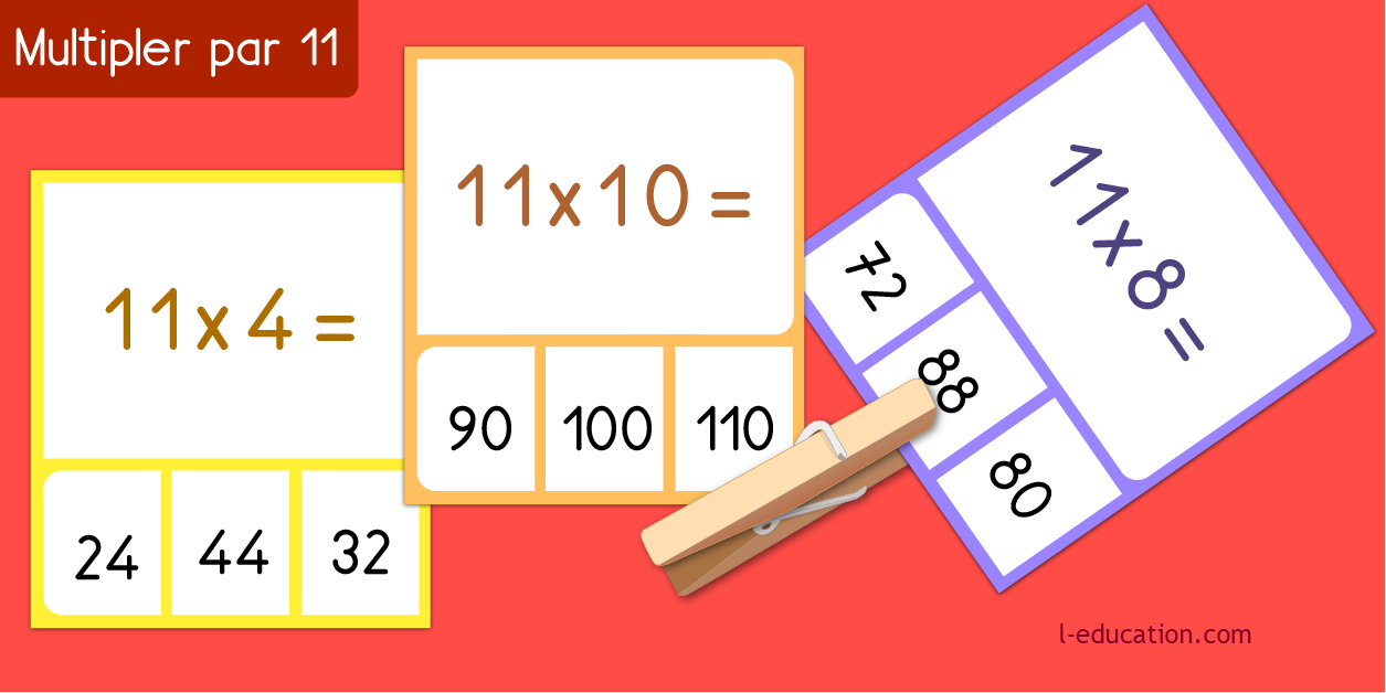 cartes memory - Table de multiplication de 11