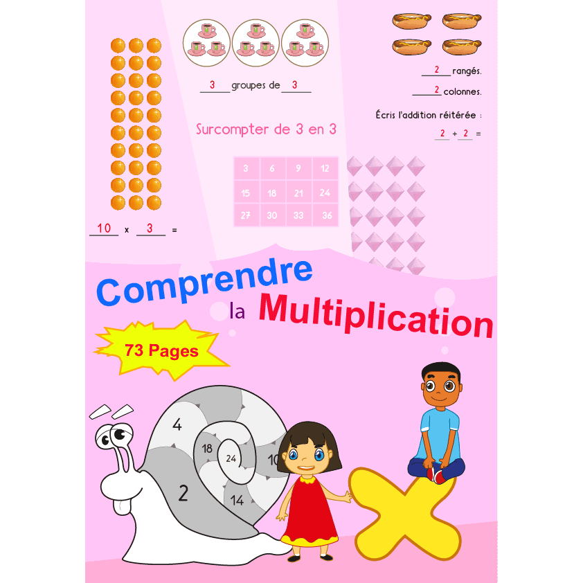 Exercices sur le sens et la base de la multiplication cp for Mathematique ce2 multiplication