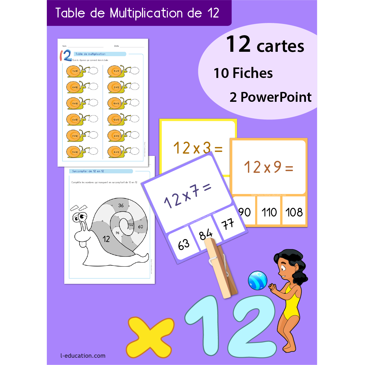 Quiz interactif cartes fiches table de multiplication - Table de multiplication de 12 ...