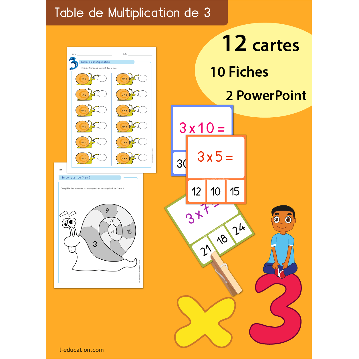 quiz interactif cartes fiches table de multiplication de 3 On multiplication de 3