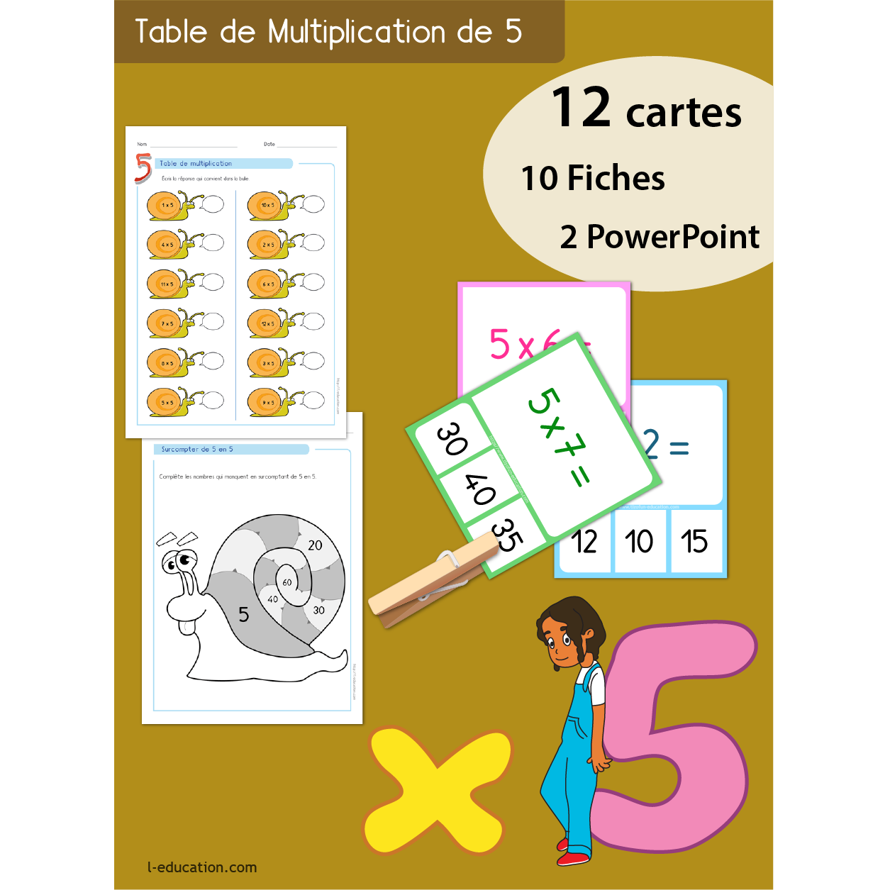 Quiz interactif cartes fiches table de multiplication de 5 for Table de multiplication de 5