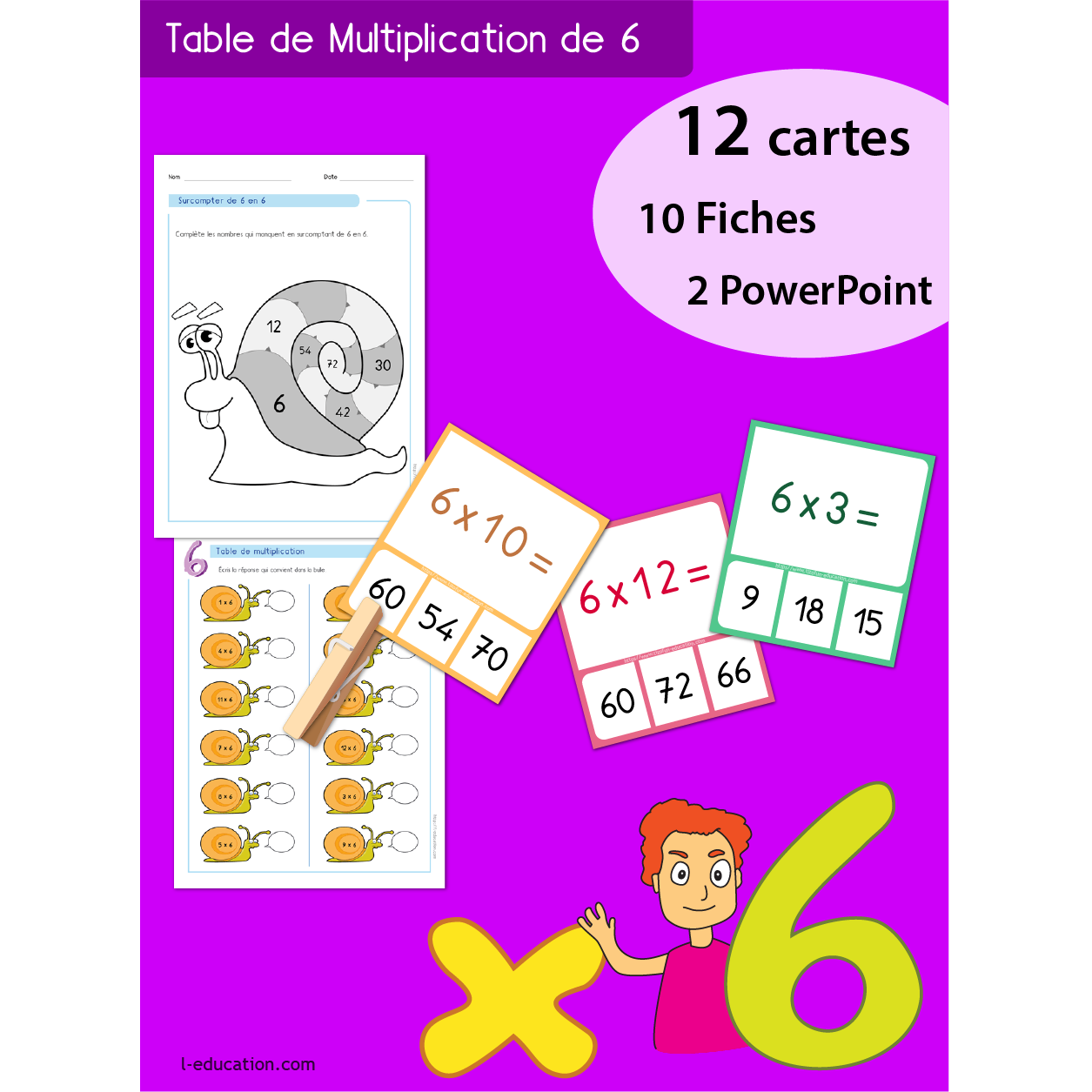 Quiz interactif cartes fiches table de multiplication de 6 - Table de multiplication chronometre ...