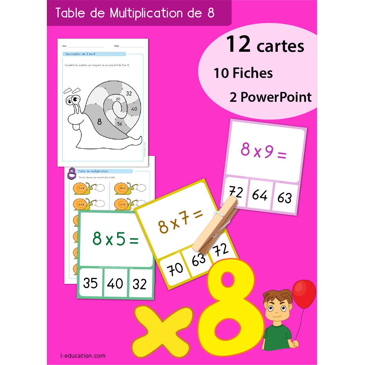 Quiz interactif cartes fiches table de multiplication de 8 for La table de multiplication de 8
